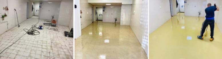 Maatwerk renovatievloer bakkerij zonder sloop bestaande tegelvloer