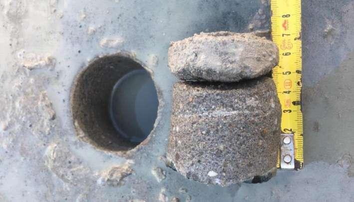 Inspectie vloer: resultaat kernboring